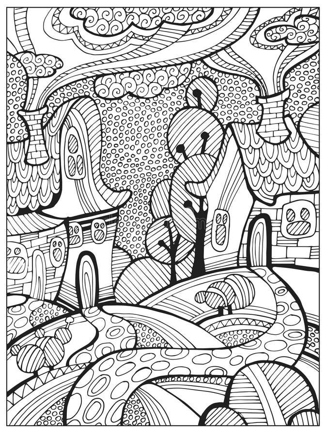 Page adulte difficile tirée par la main de livre de coloriage pour des adultes ou des enfants illustration de vecteur