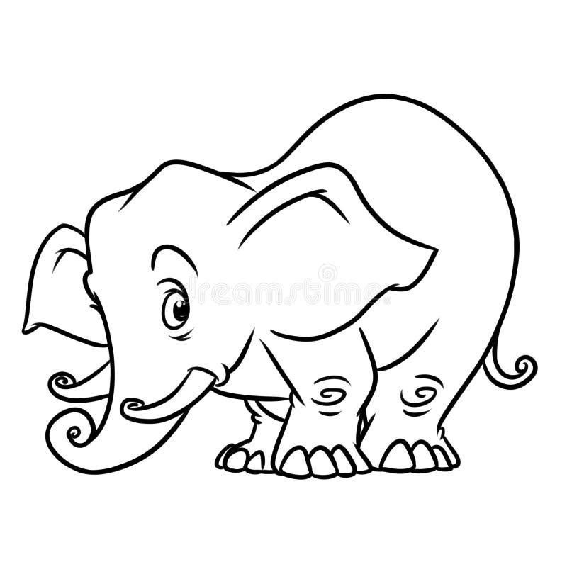 Page animale de coloration de bande dessinée de caractère d'éléphant illustration de vecteur