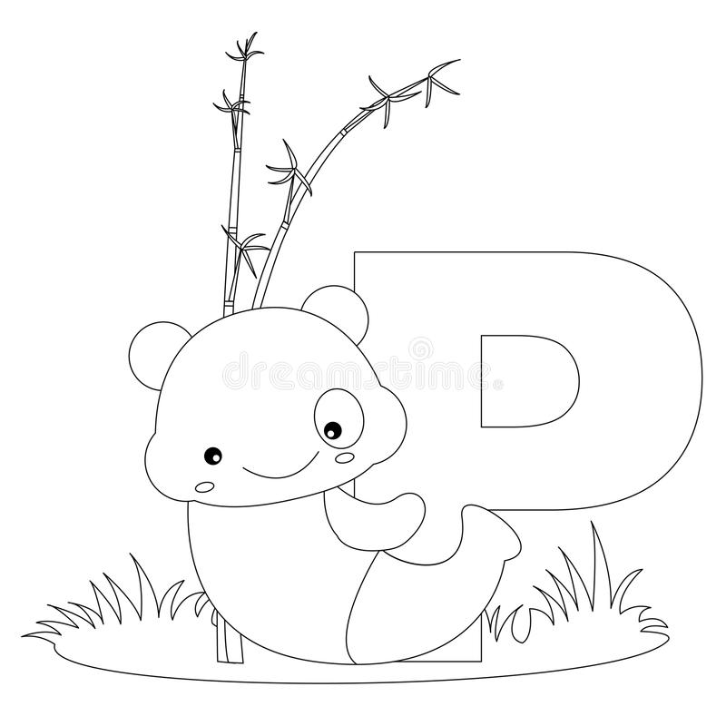 page animale de la coloration p d'alphabet illustration libre de droits