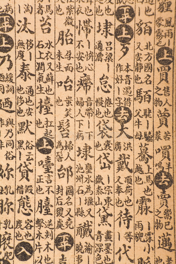 Page antique de livre chinois photographie stock