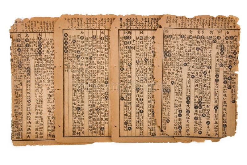 Page antique de livre chinois photos libres de droits