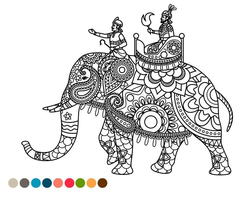 Page Antistress de coloration avec le maharaja sur l'éléphant illustration de vecteur