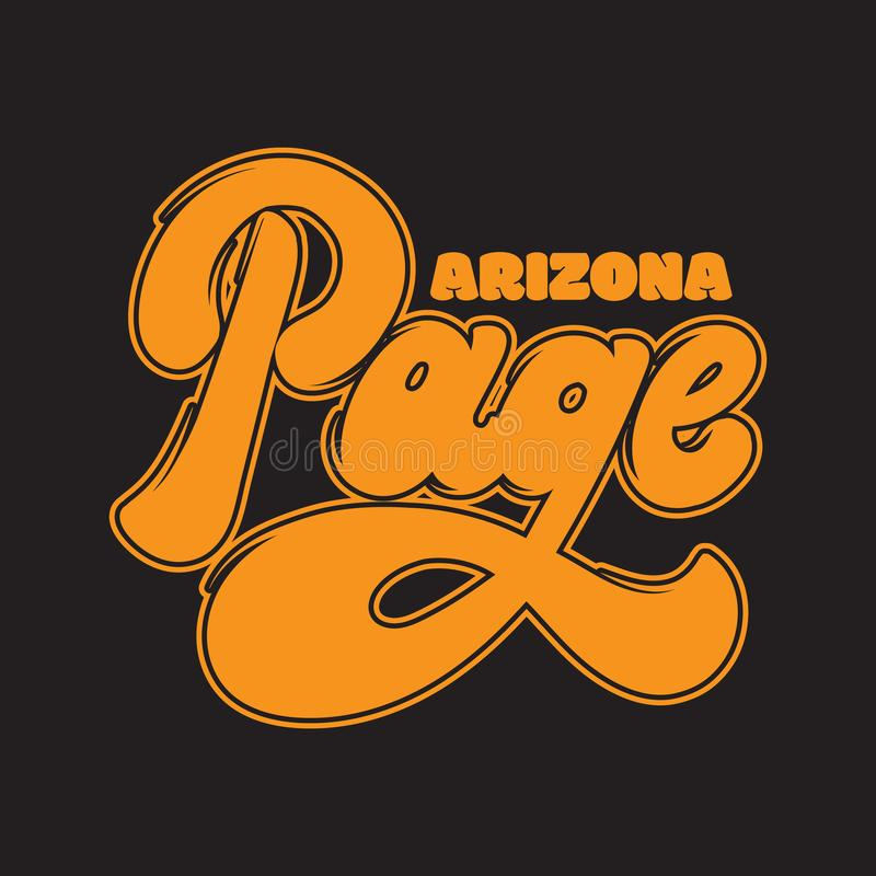 Page. Arizona. Vector handwritten lettering made in old school style isolated. Template for card, poster, banner, print for t-shirt, badge, pin and patch royalty free illustration
