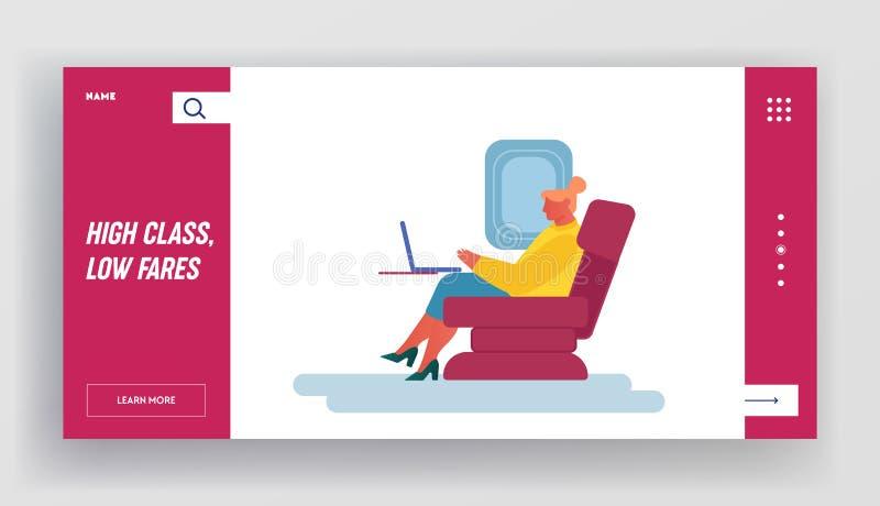Page Atterrissage du site Web Voyage d'avion Une jeune femme d'affaires qui travaille sur un ordinateur portable à bord d'un avio illustration de vecteur