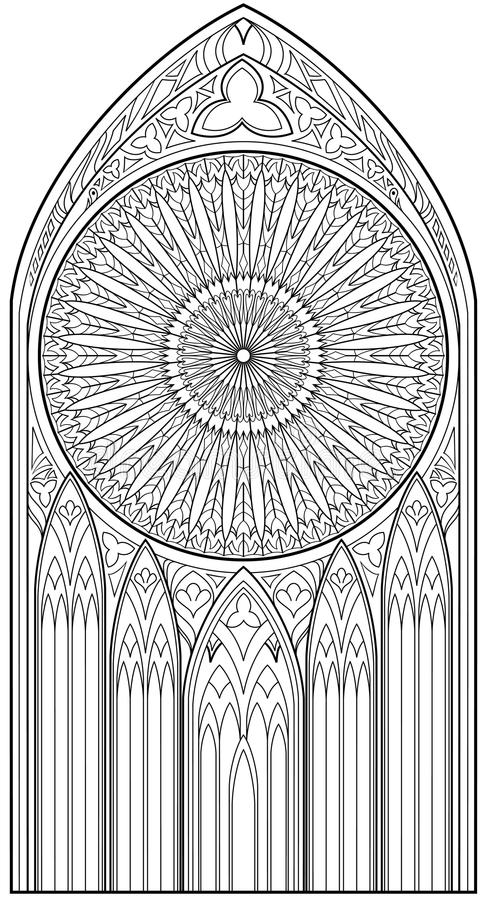 Page with black and white drawing of beautiful medieval gothic download page with black and white drawing of beautiful medieval gothic window with stained glass and thecheapjerseys Gallery