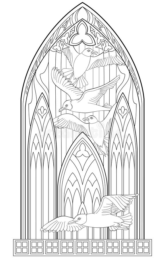 Download Page With Black And White Drawing Of Beautiful Medieval Gothic Window Stained Glass