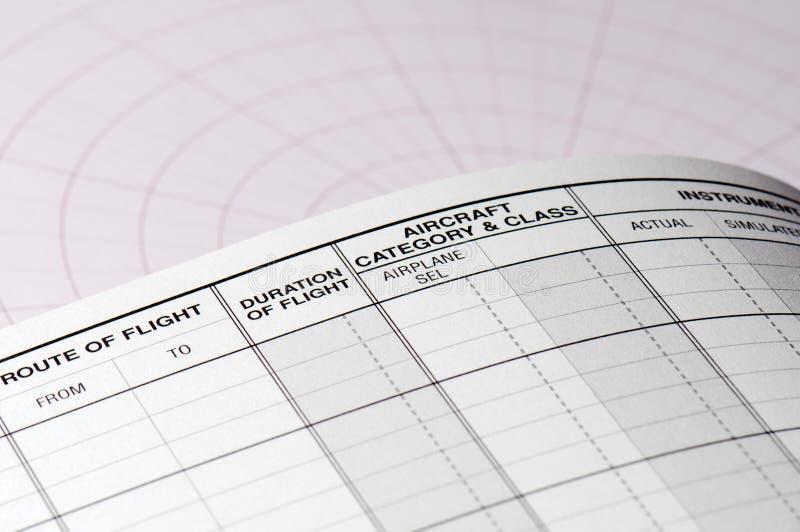 Page blanc de carnet pilote photographie stock