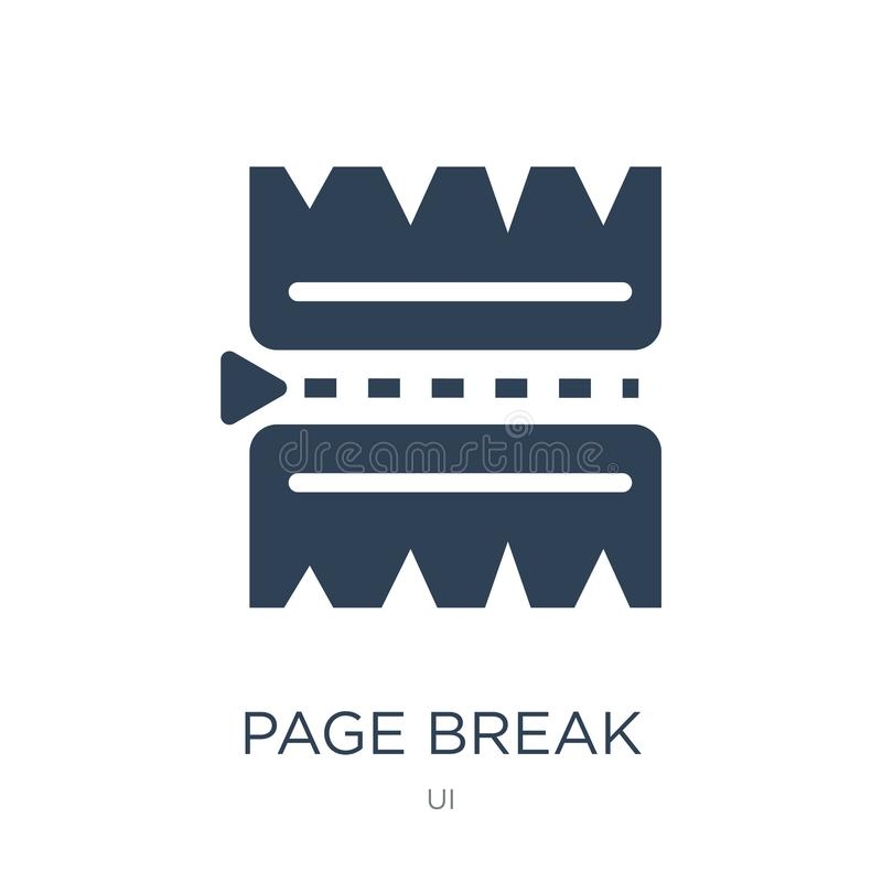 Page break icon in trendy design style. page break icon isolated on white background. page break vector icon simple and modern. Flat symbol for web site, mobile stock illustration