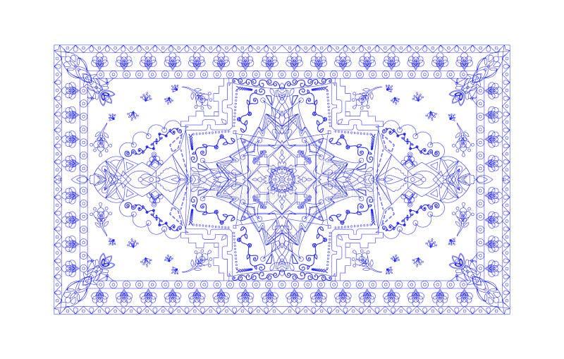 page carrée de livre de coloriage unique pour les adultes - conception authentique florale de tapis, joie à des enfants plus âgés illustration libre de droits