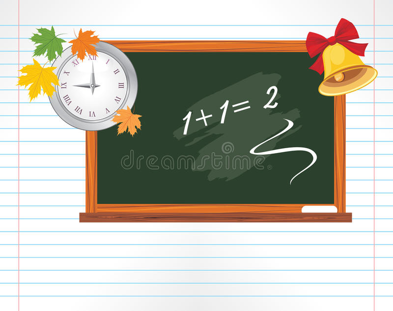 Page with chalkboard, watch and school bell royalty free stock photos