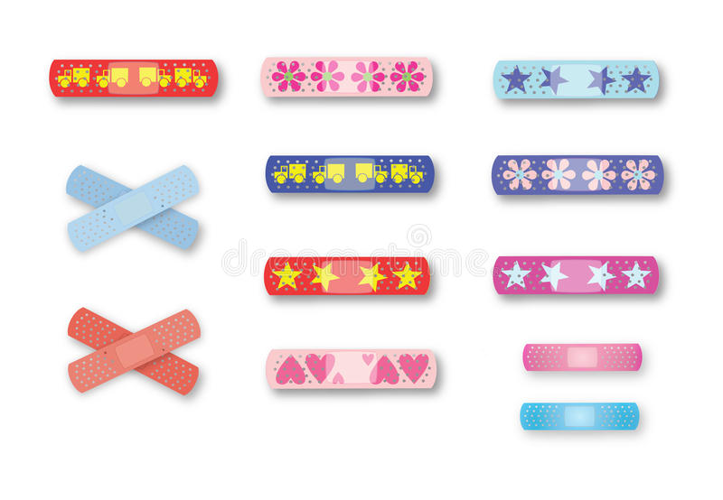 Page of colorful kids' bandages royalty free illustration
