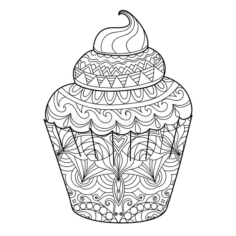 Cupcake for coloring book for adults. Page for coloring book for adults. Cupcake. Vector illustration isolated on white background.Zentangle style. Antistress royalty free illustration