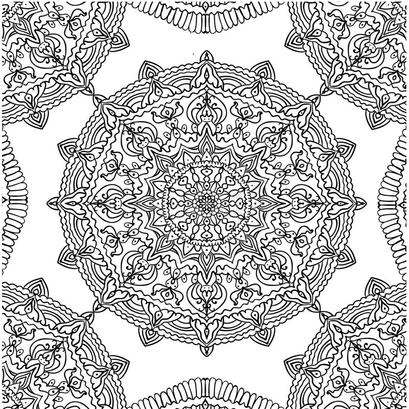 Page coloring pattern with circular mandala isolated illustration royalty free illustration