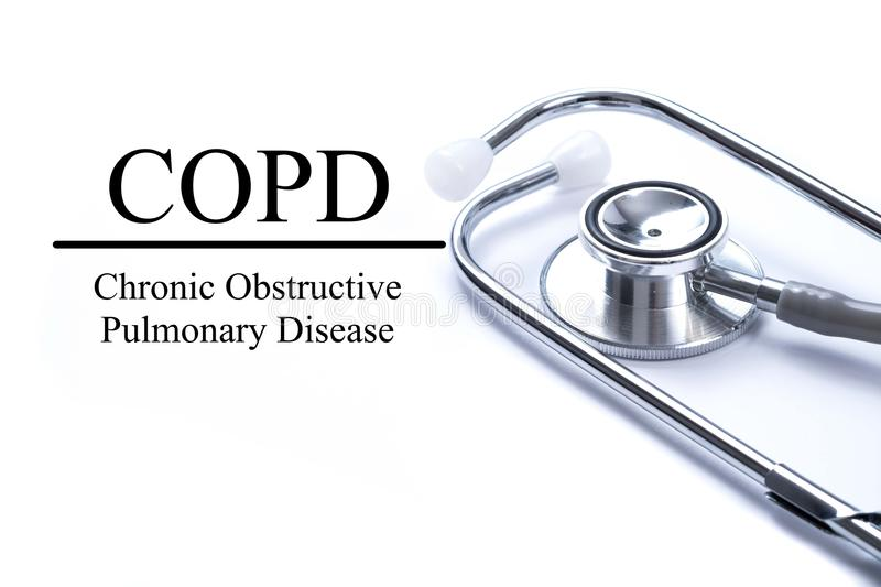 Page with COPD Chronic obstructive pulmonary disease on the ta stock photo