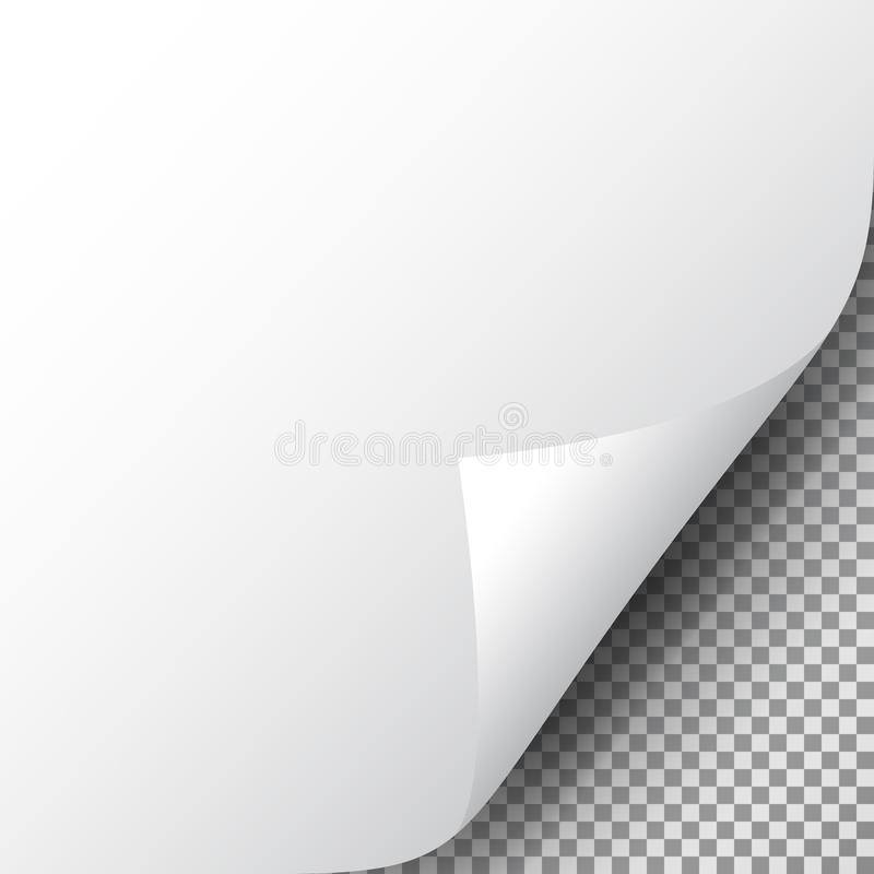 Page corner on transparent sheet of paper. Realistic curled corner of paper with shadow. Turn paper. Design for web. Print, banner, advertising, presentation vector illustration