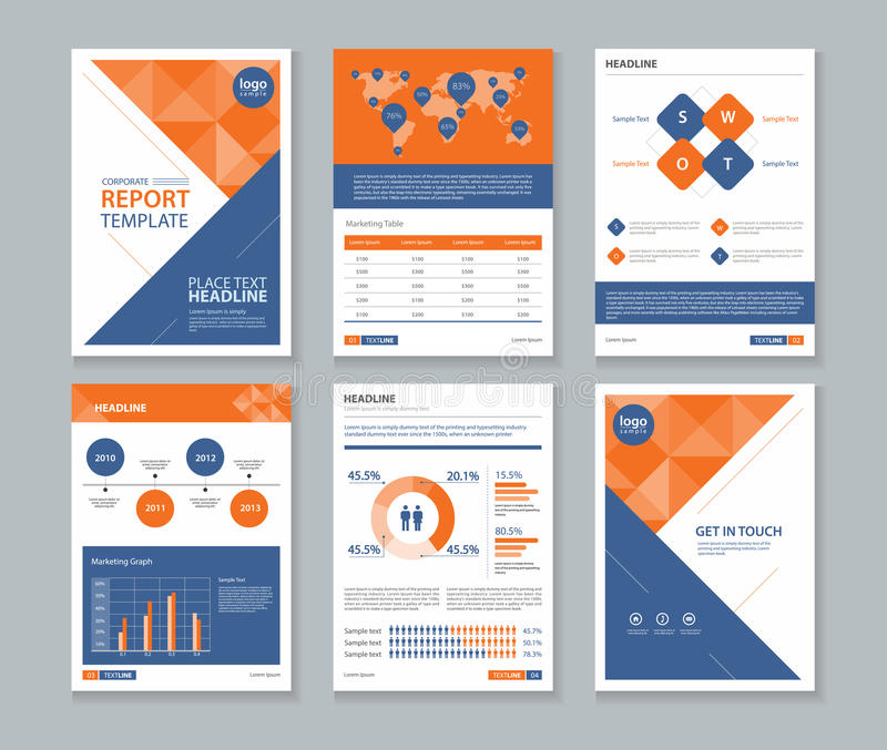 page cover brochure flyer report layout design template stock