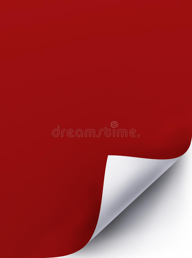 Page curl. With red background stock illustration