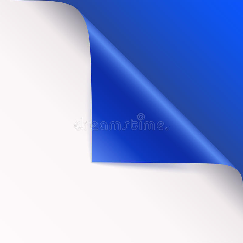 Page curl with shadow on blank sheet of paper. Vector curled corner of white paper with shadow. Close-up isolated on. Blue background. Paper sticker, 3D stock illustration