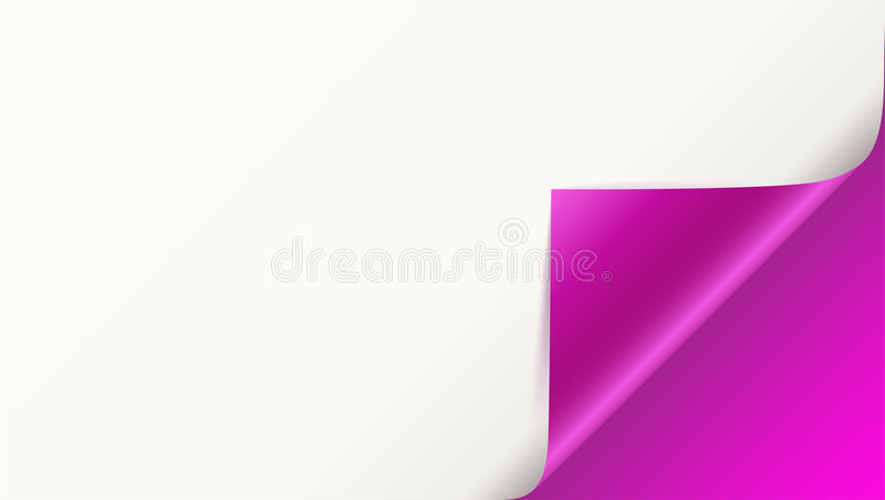 Page curl with shadow on blank sheet of paper. Vector curled corner of white paper with shadow. Close-up isolated on. Pink background. Paper sticker, 3D vector illustration