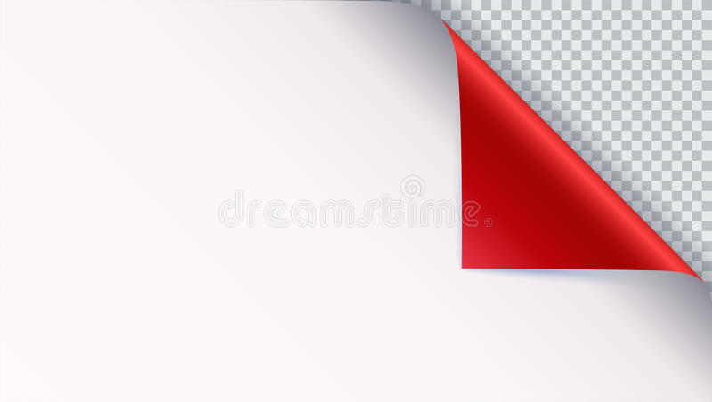 Page curl with shadow on blank sheet of paper. Vector curled corner of white paper with shadow. Close-up isolated on. Transparent background. Paper sticker, 3D stock illustration