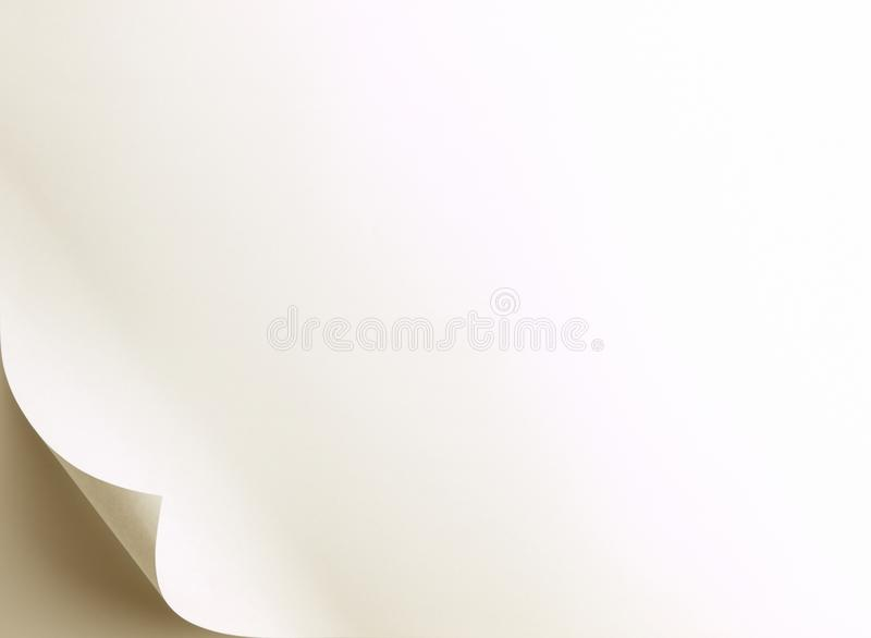 Page curl under warm incandescent light. Rotate or flip image to move curl to desired corner royalty free stock photo