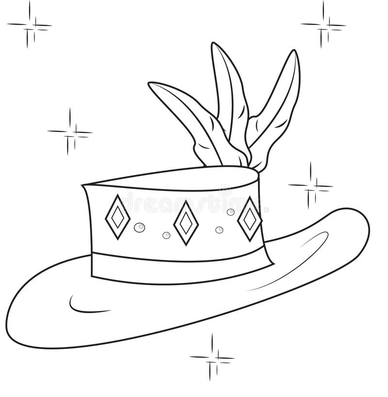 Page décorative de coloration de chapeau illustration stock