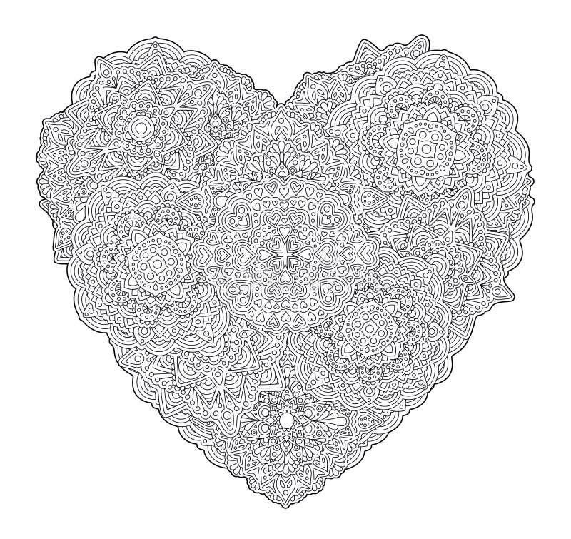 Page détaillée de livre de coloriage avec la forme du coeur illustration de vecteur