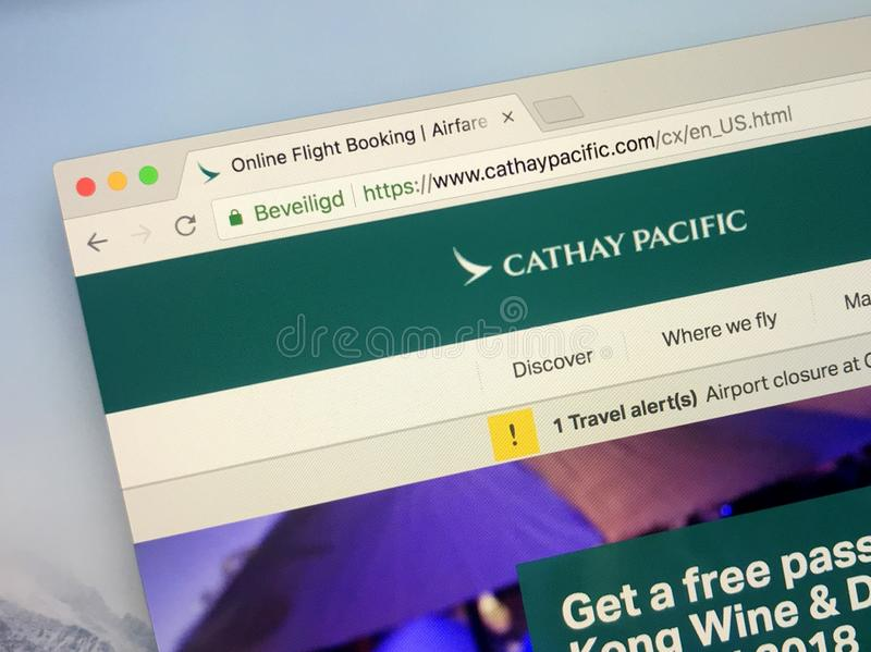 Page d'accueil de Cathay Pacific Airways photo stock