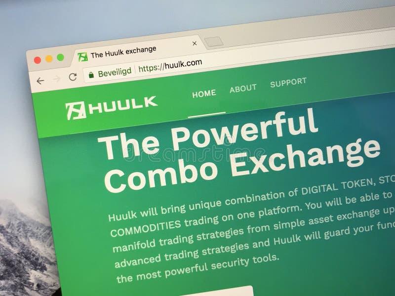 Page d'accueil de crypto échange Huulk images stock