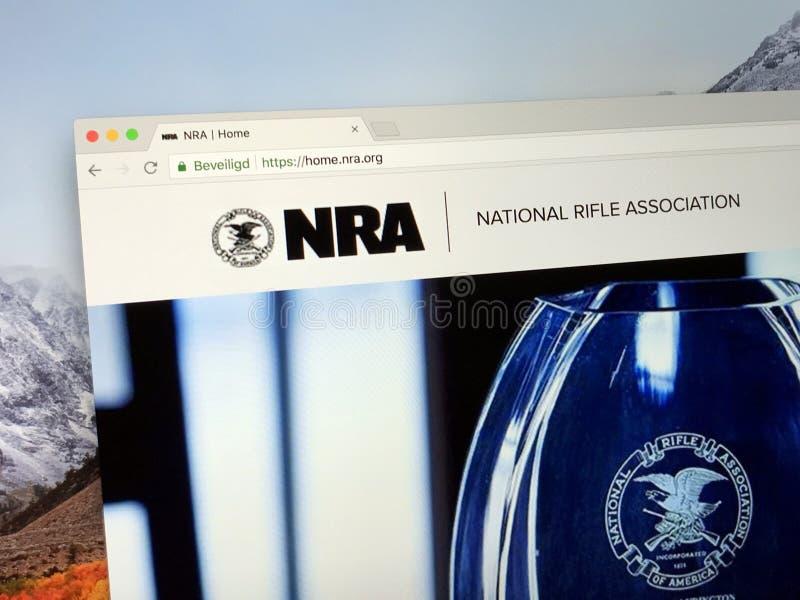 Page d'accueil de l'association de fusil nationale du NRA de l'Amérique image stock