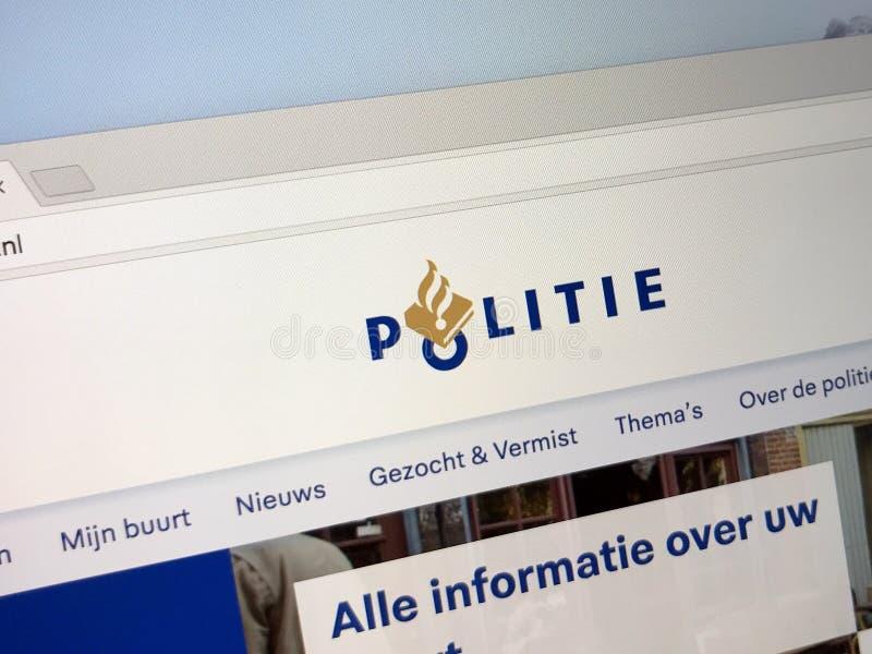 Page d'accueil de police nationale néerlandaise photo stock