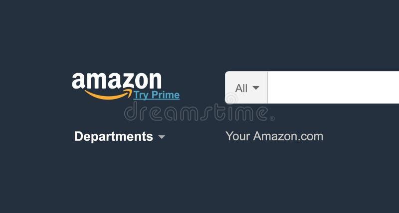 Page d'accueil de site Web d'Amazone sur l'ordinateur portable amazone logo de COM évident photographie stock libre de droits