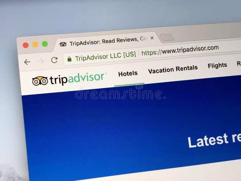 Page d'accueil de TripAdvisor, images stock