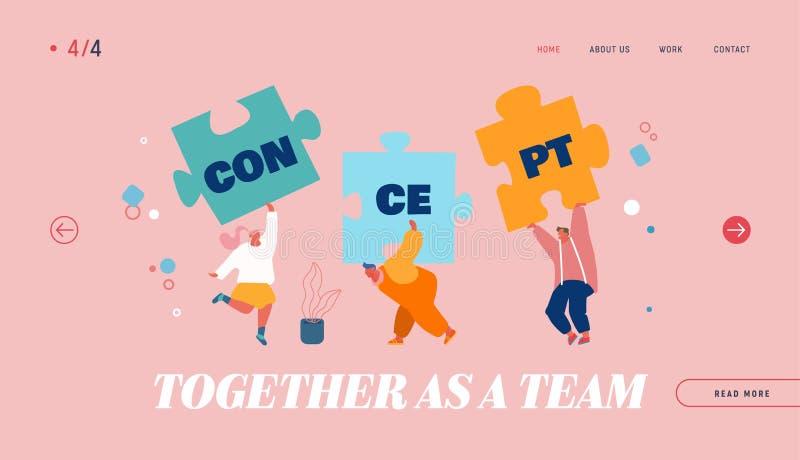 Page d'accueil du site Web du Concept de coopération au travail d'équipe Réunir des gens à la construction de puzzle séparés, rec illustration libre de droits