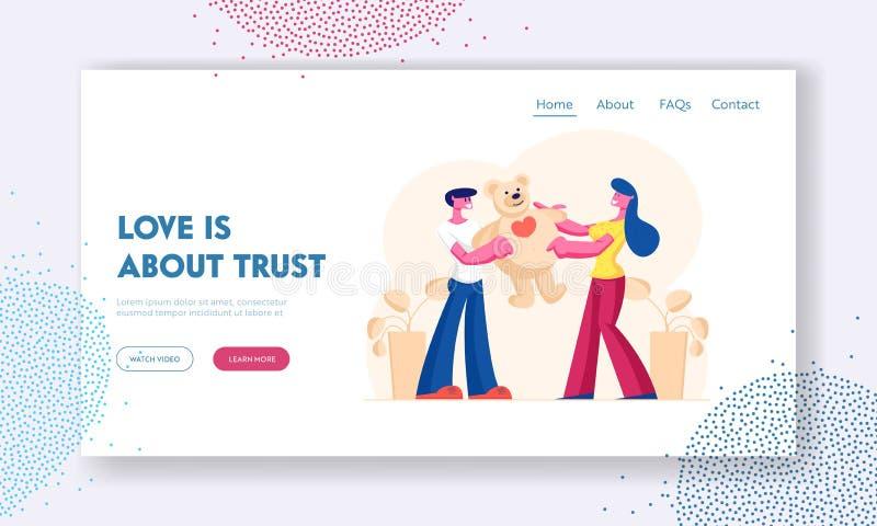 Page d'accueil du site Web de relations amoureuses homme et femme Un copain amoureux présente un énorme cadeau à une amie illustration libre de droits