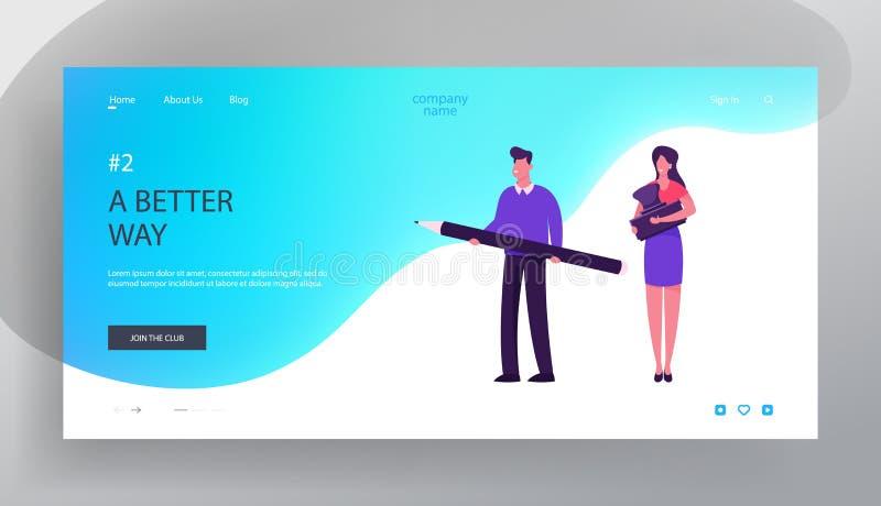 Page d'accueil du site Web de signature de contrats ou de bureaucratie Hommes d'affaires Homme et femme tenant un stampon et un t illustration stock