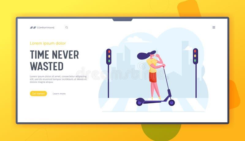 Page d'accueil du site Web Megapolis Lifestyle Une jeune femme d'affaires boit du café pendant qu'elle va travailler en scooter illustration stock