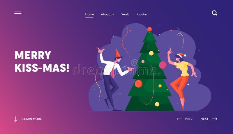 Page d'accueil du site Web du Nouvel An Bash Fête des gens d'affaires, s'amuser et danser à Noël décoré illustration de vecteur