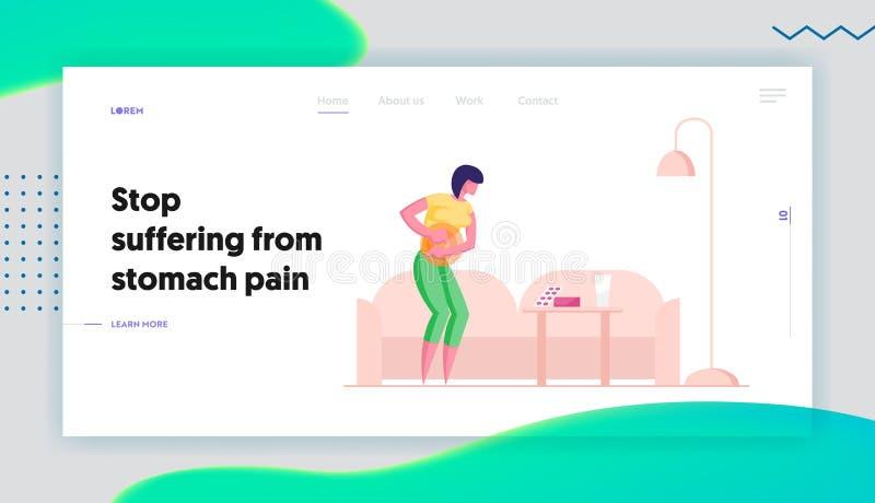 Page d'accueil du site Web sur la diarrhée ou la maladie de la constipation Femme souffrant de douleur abdominale dans l'estomac illustration de vecteur