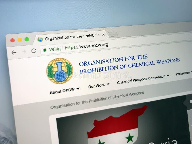 Page d'accueil officielle de l'organisation pour l'interdiction des armes chimiques - OPCW images libres de droits