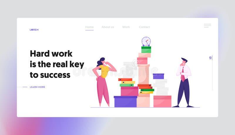 Page d'arrivée du site Web du stress de la date limite d'emploi des employés Une femme d'affaires et un homme d'affaires à la rec illustration stock