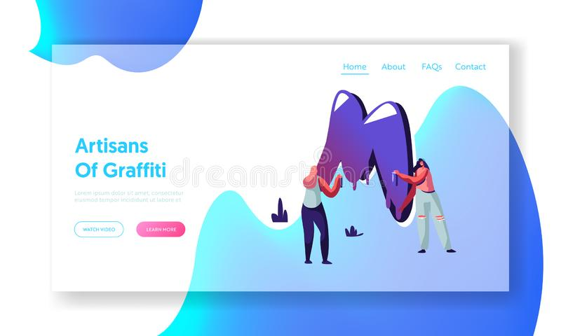 Page d'Art Grungy Style Website Landing de rue, couple des filles de l'adolescence dans des jeans déchirés peignant le graffiti a illustration libre de droits