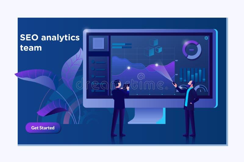 Page d'atterrissage d'équipe d'analytics de SEO Concept de construction plat moderne de conception de page Web Concept de données illustration de vecteur