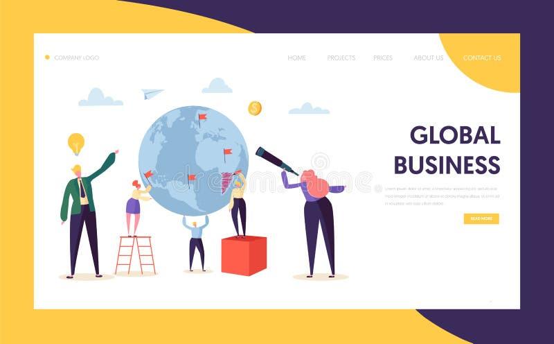 Page d'atterrissage de caractère d'occasion de recherche d'affaires globales Homme d'affaires d'entreprise Work au globe de la te illustration libre de droits