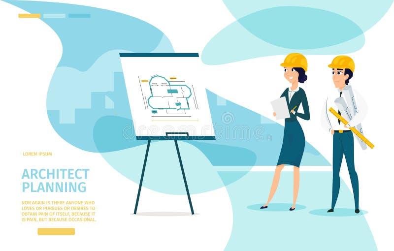 Page d'atterrissage de Planning Cartoon Vector d'architecte illustration stock