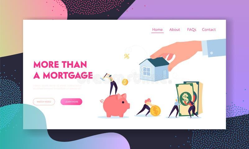 Page d'atterrissage de prêt d'hypothèque immobilière Fonds d'augmenter de caractère pour acheter la Chambre ou pour le but tout e illustration stock