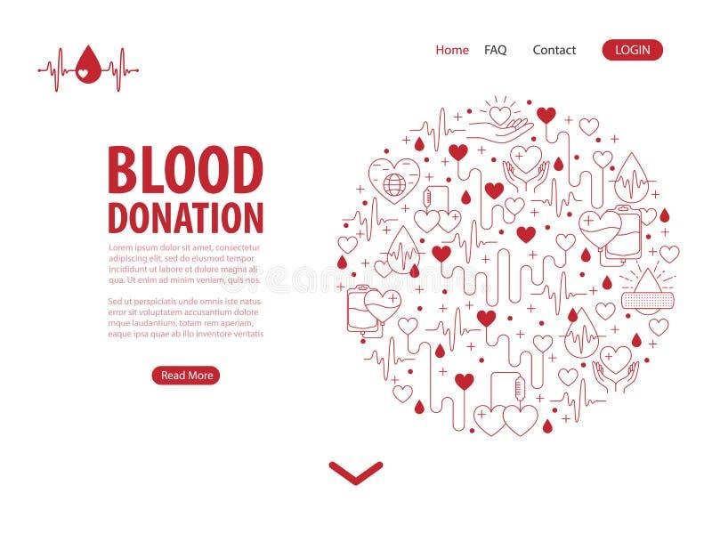 Page d'atterrissage de sang de donation illustration stock