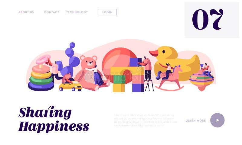 Page d'atterrissage de site Web d'activité de jeu d'hommes et de femmes Caractères jouant avec des jouets de bébé dans de différe illustration libre de droits