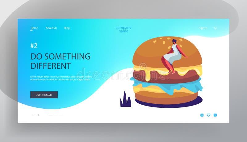 Page d'atterrissage de site Web de festival d'aliments de préparation rapide, femme s'asseyant sur l'hamburger énorme, régime, nu illustration stock