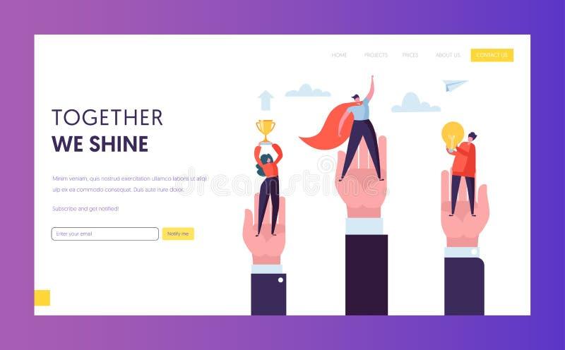 Page d'atterrissage de Win Challenge Prize de chef de file des affaires Homme d'affaires Team Working au trophée de Digital de su illustration stock